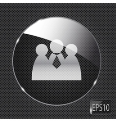 Glass social network button icon on metal vector