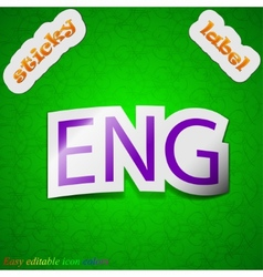 English icon sign symbol chic colored sticky label vector