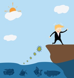 Businessman running away bacteria vector