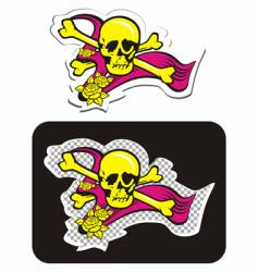 Skull with crossbones and roses vector