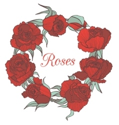 Decorative floral garland with red roses vector
