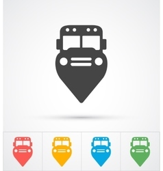 Trendy bus marker pin icon for map vector