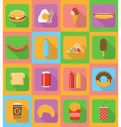 fast food flat icons 20 vector image