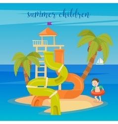 Water park summer vacation children vector