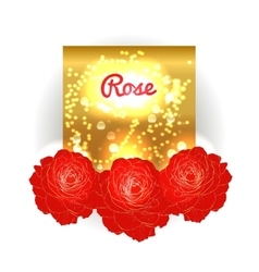 Gold bokeh background with red roses vector