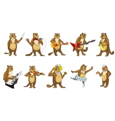 Set of cute beavers music vector