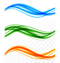 Abstract soft colorful wavy lines set vector