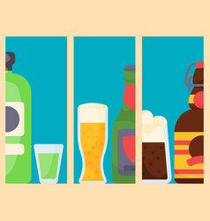 Alcohol drinks cards beverages cocktail bottle vector