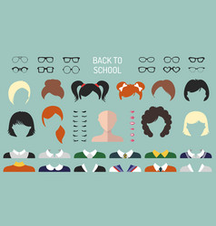 Back to school faces creator set of dress vector