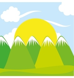 beautiful field landscape drawn vector image