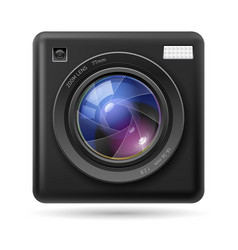 Black camera icon lens on white background vector