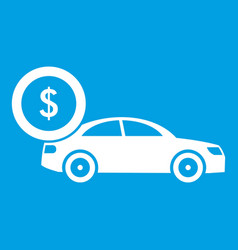 Car and dollar sign icon white vector