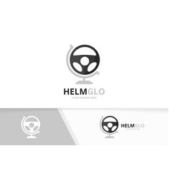 Car helm and globe logo combination vector