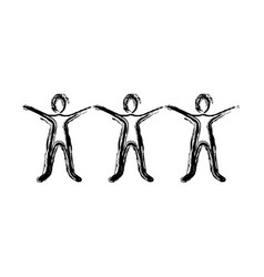 Contour people with hands up icon vector