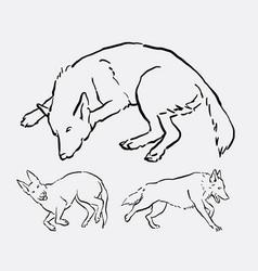 Dog activity animal line art style vector