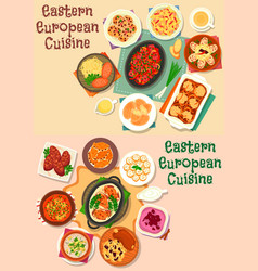 Eastern-european cuisine meat lunch icon set vector