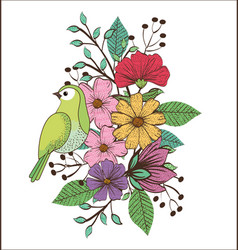 Floral decoration and bird vintage style vector