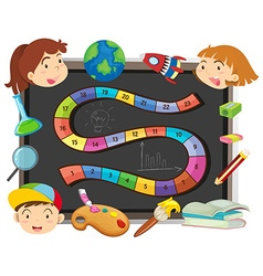 Game template with children and school objects vector image vector image
