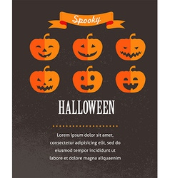 Halloween cute poster with pumpkins vector image
