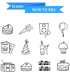 Hand draw of object new year icons vector