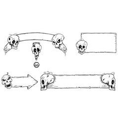 hand drawing set of halloween frames with skulls vector image