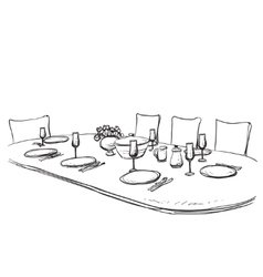 Hand drawn wares dinner vector
