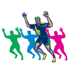 Happy Marathon Runner Running Retro vector image vector image