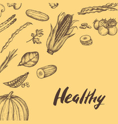 Healthy vegan food hand drawn background vector