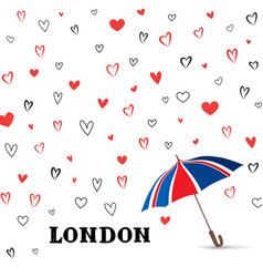 Heart background with umbrella love pattern for vector