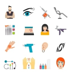 Icons set with bodyart tattoo piercing and special vector image