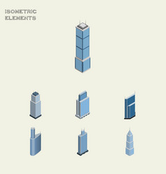 Isometric building set of urban residential vector
