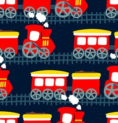 Little steam train in a seamless pattern vector