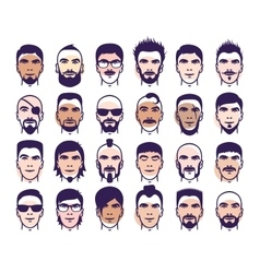 man faces set vector image