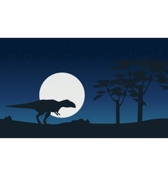 Mapusaurus on hill at night scenery silhouettes vector