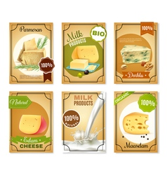 Milk products vertical banners vector
