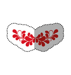 Red flowers branches icon vector
