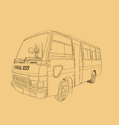 school bus in urban city sketch vector image