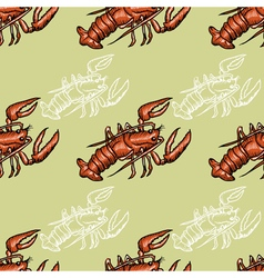 seamless background with lobster vector image vector image