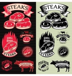 set of steak template for grilling vector image