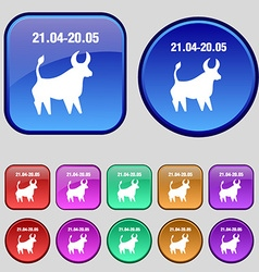 Taurus icon sign A set of twelve vintage buttons vector image vector image