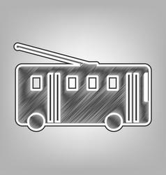 Trolleybus sign pencil sketch imitation vector