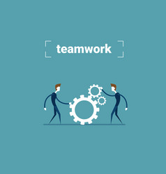 two businessman holding cog wheel teamwork vector image