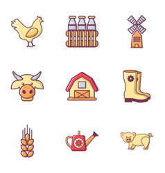 village farm icons set flat style vector image