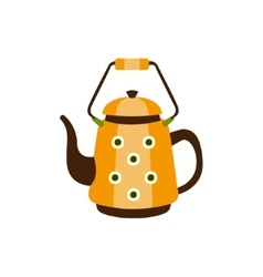 Yellow spotted metal kettle with handle camping vector