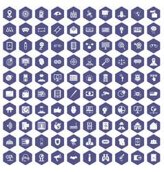 100 security icons hexagon purple vector