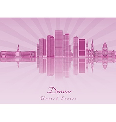 Denver skyline in purple radiant orchid vector image