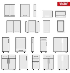 Set of modular kitchen objects vector