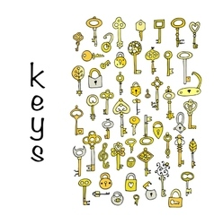 Keys collection sketch for your design vector