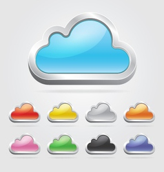 Cloud icon button set vector