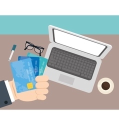 Hand businessman credit cards office space vector